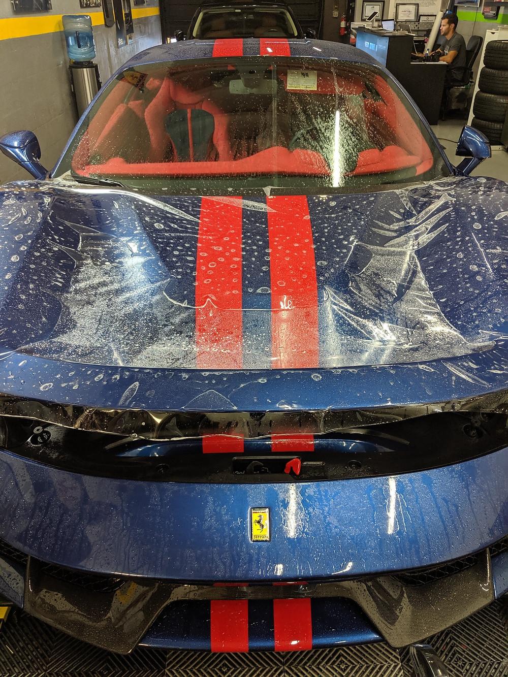 2019 Ferrari 488 Pista paint protection film hood