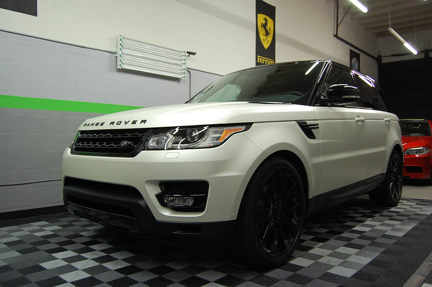 2014 Range Rover 3m Satin Pearl White Car Wrap Miami With Gloss Black Accents Miami Car Wraps