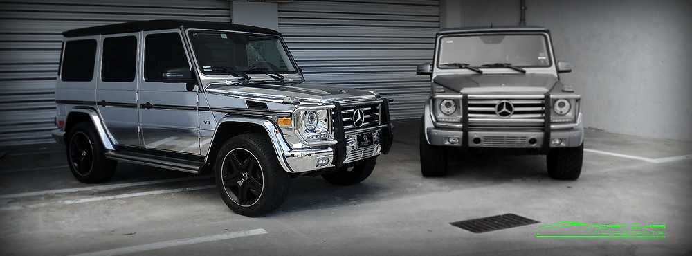 Mercedes Benz G-Class wrapped Avery Silver Chrome First Class Autosports Miami