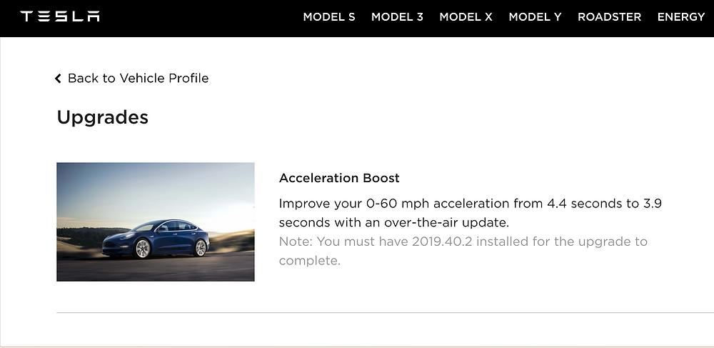 Tesla Acceleration Boost update 2019