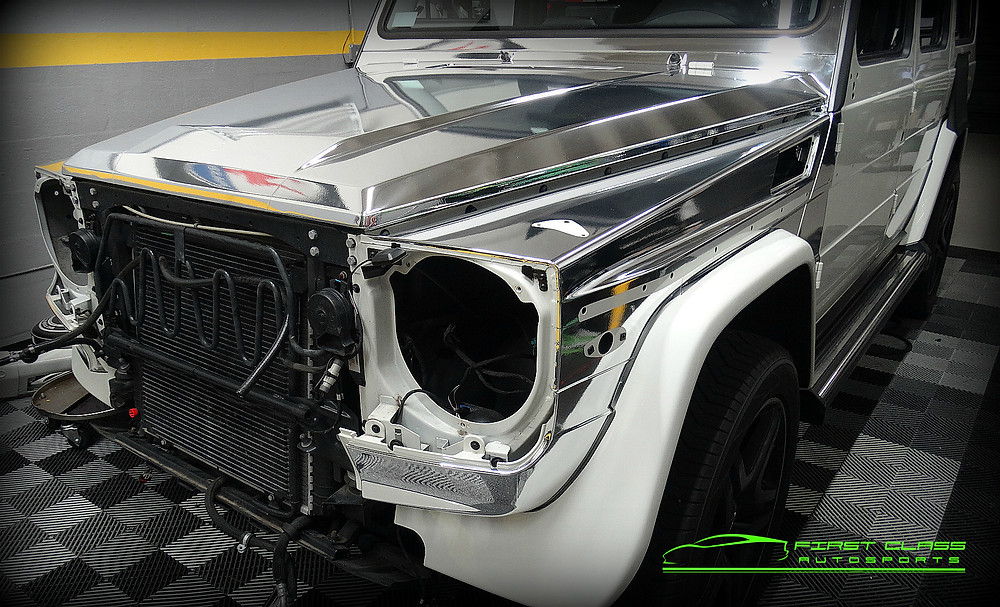 Mercedes Benz G-Class wrapped in Avery Silver Chrome at First Class Autosports