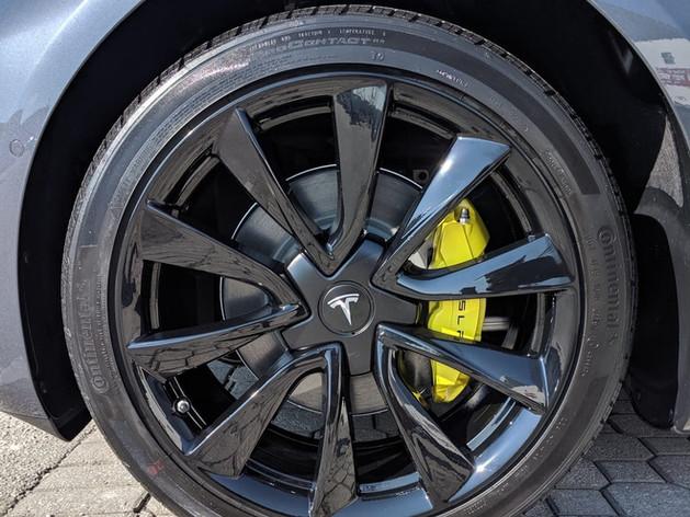 Tesla Model 3 reflective yellow car wrap Miami
