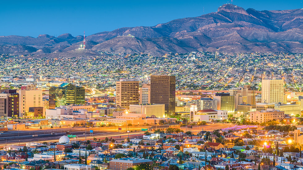 El Paso, Texas, USA  downtown city skyline at dusk with Juarez, Mexico in the distance..jp