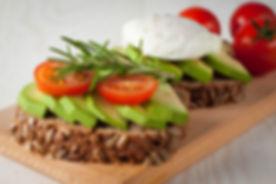 Avocado toast, cherry tomato and poached