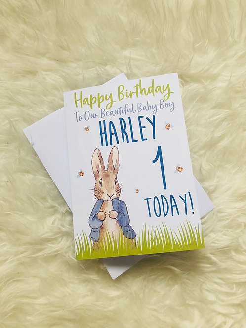 Peter Rabbit 'Our Son' B'day Card - personalised