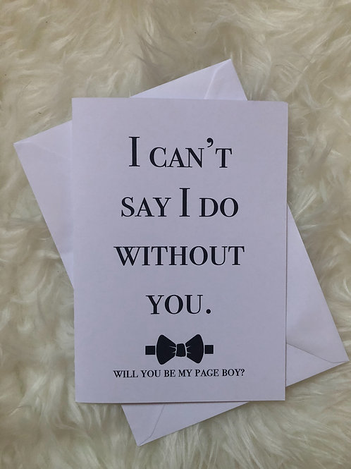 I can't say I do without you - Page Boy