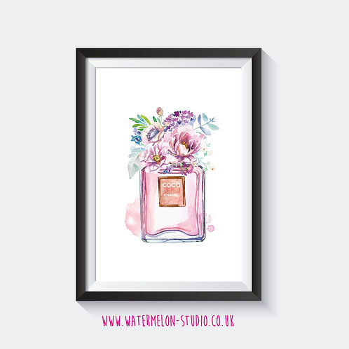 Coco Chanel Floral Perfume Print