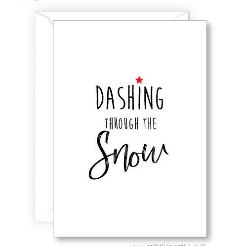 Dashing through the snow - card