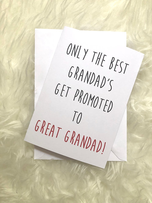 Grandad promoted to great grandad card