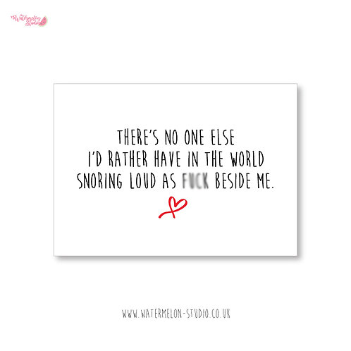Naughty Valentines Card - Snoring