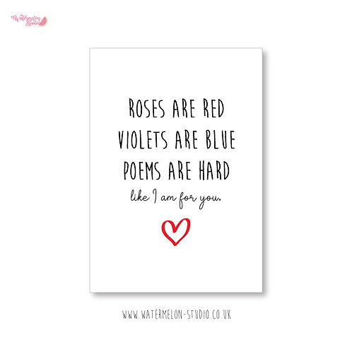 Naughty Valentines Card - Poems are hard