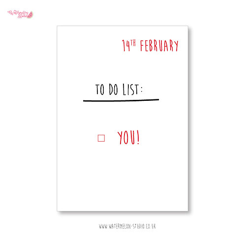 Naughty Valentines Card - to do list