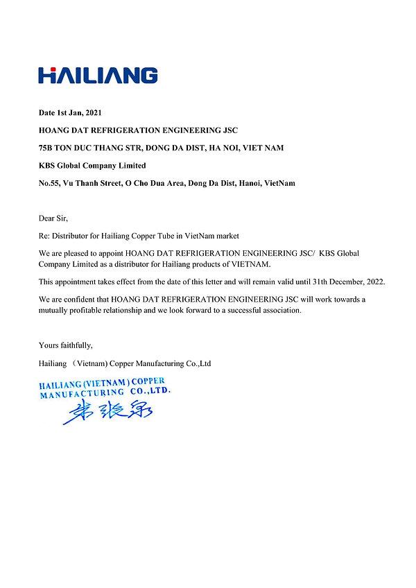 Chứng nhận đại lý phân phối Hailiang