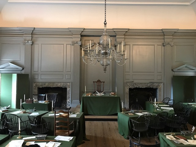 Inside Independence Hall - Washington's Chair in the Center