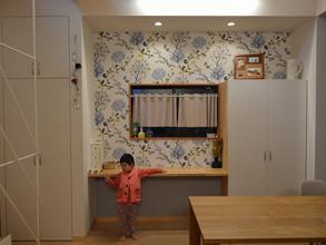 壁紙と家具の工事。