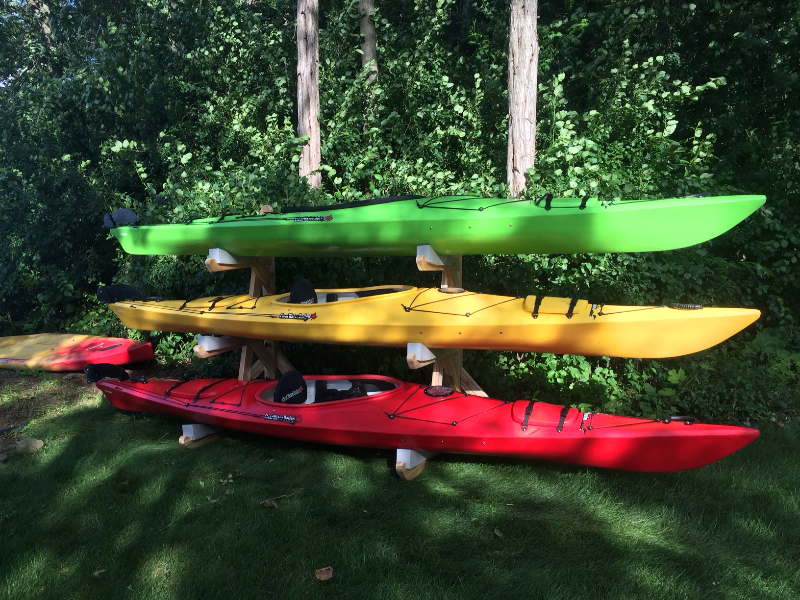 Triple Kayak Rack in Cedar