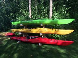 Triple Kayak Rack in Cedar