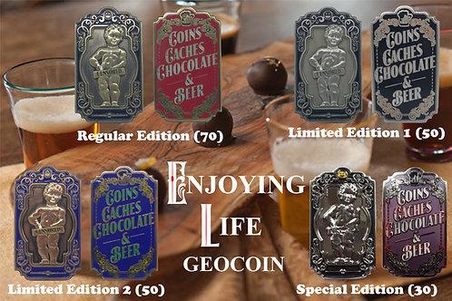 Enjoying Life Geocoin - Full set of 4 - incl. SE (30)
