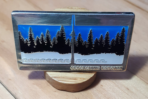 Geocaching Estonia Fundraiser Geocoin RE Shiny Silver