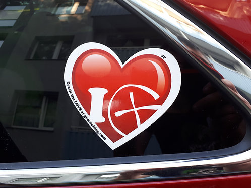I Love Geocaching Trackable Car Sticker
