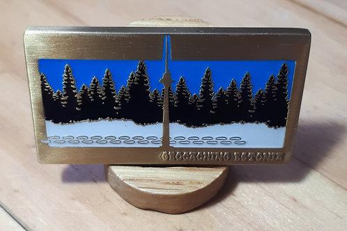 Geocaching Estonia Fundraiser Geocoin RE Antique Gold