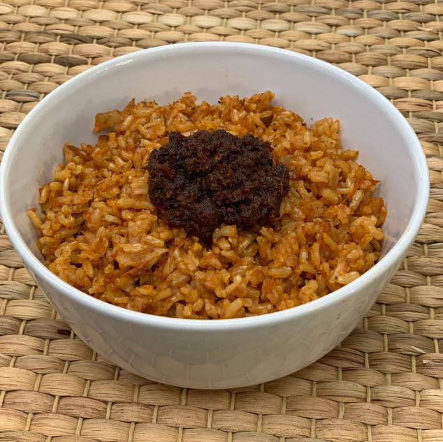 Sheto with jollof rice.