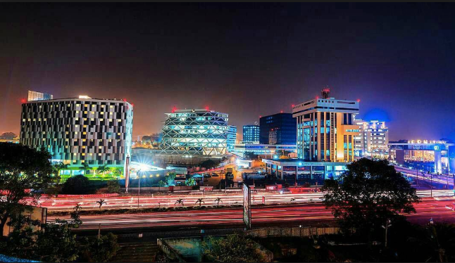 Accra at night