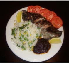 Sheto, fish, and rice