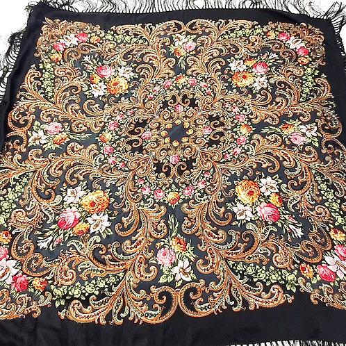 Lenço  Russo Tradicional Floral Preto
