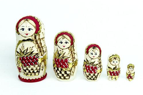 Bonecas Matrioskas Douradas com  Cachos de Uvas