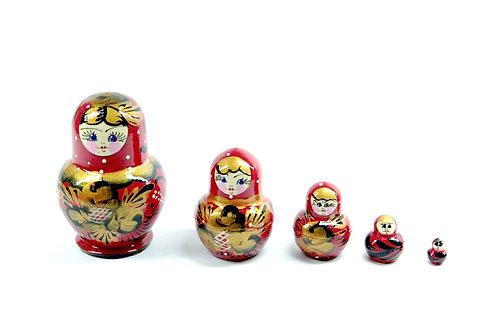 Bonecas Matrioskas vermelha com dourado