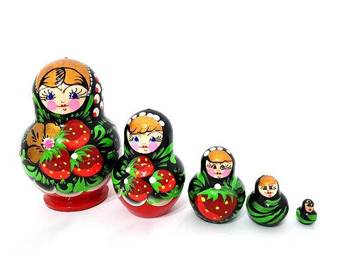 Bonecas matrioskas Pretas com frutas