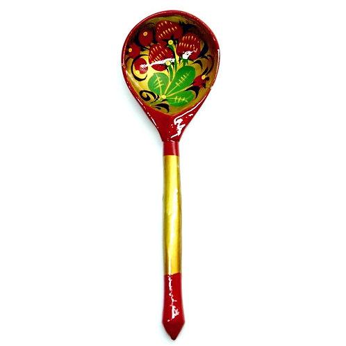 Colher Floral Vermelha e Verde