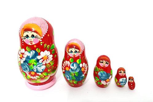 Bonecas Matrioskas Vermelha e floral