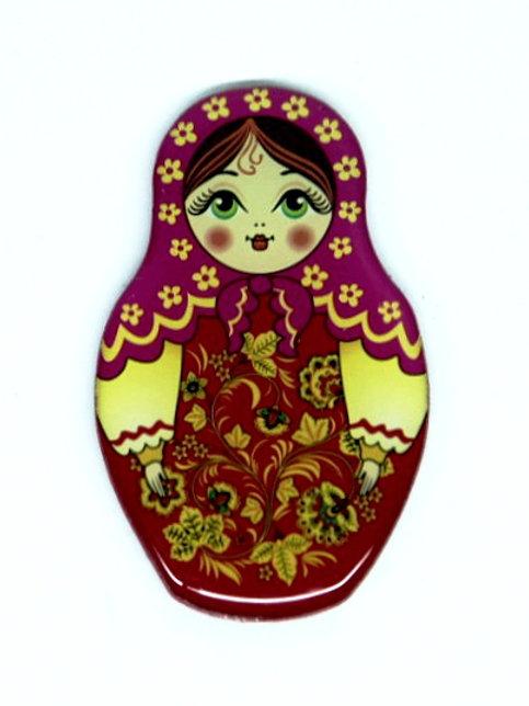 Íma Matriosca Verde com Roupa Tradicional Vermalha