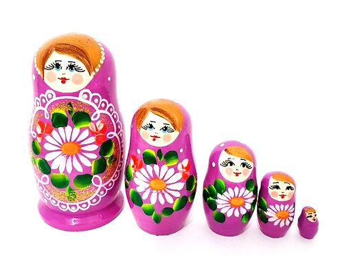 Bonecas Matrioskas Rosa fuccia com florais