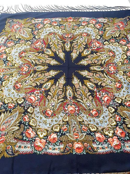 Lenço de Seda Russo Floral Preto