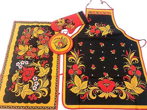 Cojunto de Cozinha Russa Floral Preto