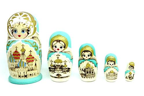 Bonecas Matrioskas Azul e Dourado com Cúpulas