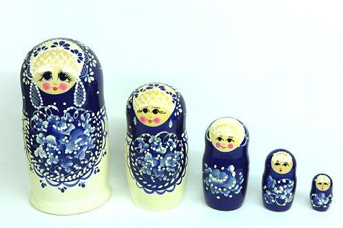 Bonecas Matrioska Azul com Florais Branco