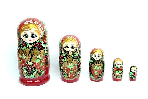 Bonecas Matrioskas Tradicional Floral e Frutas Vermelhas