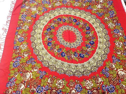Lenço de Seda Russo Floral Vermelho