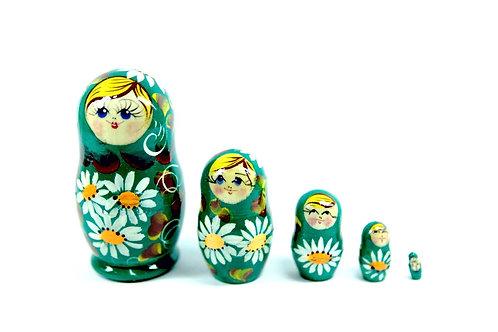 Bonecas Matrioskas verde com florais brancos