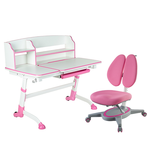 AMARE II PINK + PRIMAVERA II PINK - Regulowane biurko z krzesełkiem