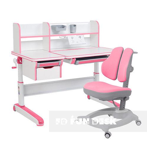 Libro Pink + Diverso Pink - Regulowany zestaw biurko z krzesełkiem