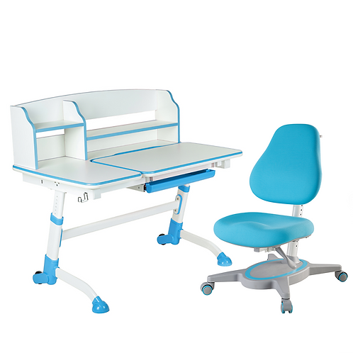 AMARE II BLUE + PRIMAVERA I BLUE - Regulowane biurko z krzesełkiem