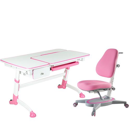 AMARE PINK with drawer + PRIMAVERA I PINK - Regulowane biurko z krzesełkiem