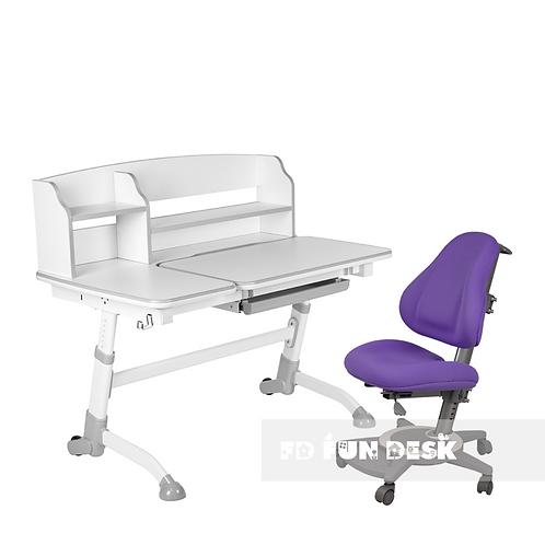 AMARE II GREY + BRAVO PURPLE - Regulowane biurko z krzesełkiem
