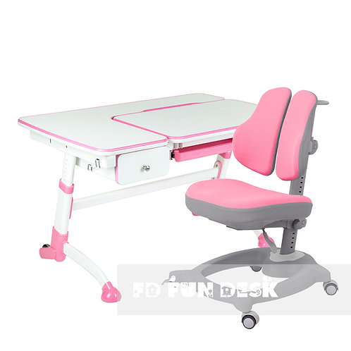 Amare Pink with Drawer + Diverso Pink - Regulowane biurko z krzesełkiem