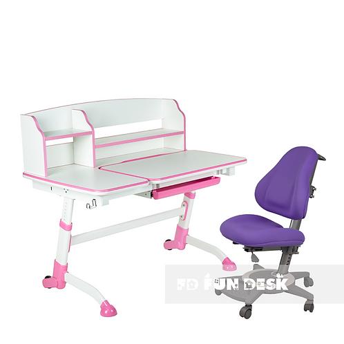 AMARE II PINK + BRAVO PURPLE - Regulowane biurko z krzesełkiem